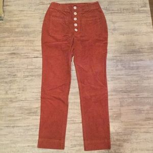 New Free People Button-fly Brushed Corduroy Pants